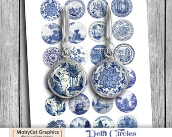 Delft Circles Digital Collage Sheet  20mm 18mm 16mm 14mm 12mm Printable Images Instant Download