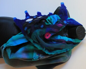 """nuno felted very long wrap (80""""), it is abstract painting to wear."""