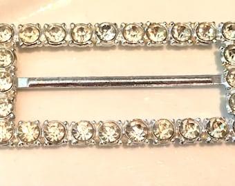 Vintage Belt Buckle Large Rectangle Clear Rhinestone Gemstone Cluster Belt Buckle Jewelry