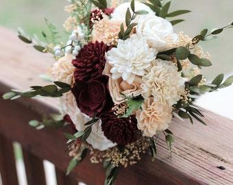Marsala Peach Sola Bouquet, wedding bouquet, bridal bouquet, Marsala blush bouquet, maroon peach bouquet, sola flowers, country wedding