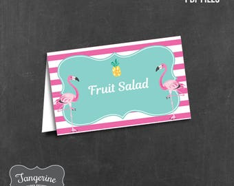 Flamingo Pineapple Food Labels, Flamingo Pineapple Party Decorations, Food Tents, DIY Editable Printable PDF File