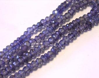 Mystic quartz faceted rondells purple alexandrite color half strand