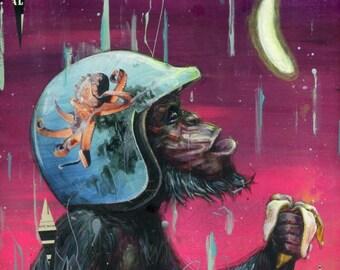 "Monkey Art Print - Monkey Artwork - Surreal Art - Chimpanzee Art - ""Electric Banana"" by Black Ink Art"