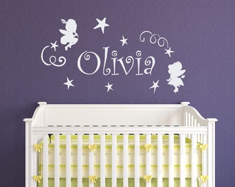 Fairy Wall Decal - Personalized Name Wall Decal -  Girls Name Wall Decal - Nursery Decor - Girls Bedroom Wall Decor Custom Name Decal 156