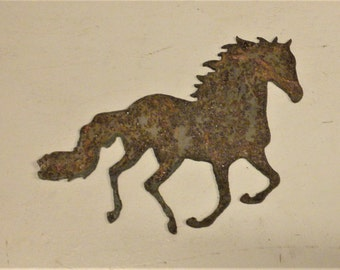 6 inch Running Horse Metal Rough Rusty Vintage-y Steel Wall Art Ornament Craft Sign Wind Chime