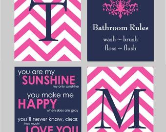 Kids Bathroom Wall Art, Girls Bathroom Art Prints, Kids Bathroom Decor, Bathroom Rules Sign,  Set of four 8x10s You Choose Colors