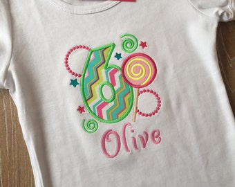 Personalized Birthday Girl Shirt  - From 1 to 6 years