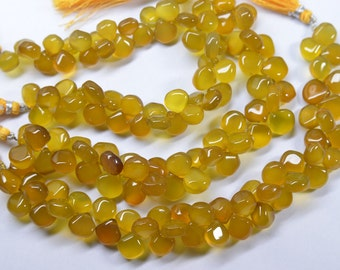 8 Inch 9-11mm Natural Deep Yellow Chalcedony Smooth Heart Briolette Beads-45 Beads