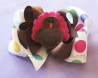Thanksgiving Turkey Hair Bow Center Embroidery Design Machine Applique