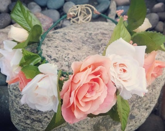 Blush and coral flower crown