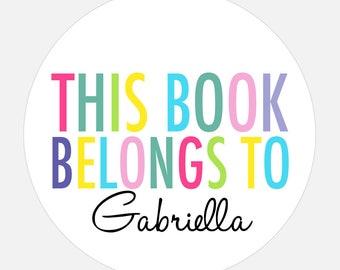This book belongs to, Book Plate Stickers, Personalized stickers, Baby shower gift, Rainbow stickers, gift tags, this book belongs to