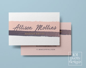Watercolor business card stripes pink printable business card design white pink business cards template custom business card  makeup paint