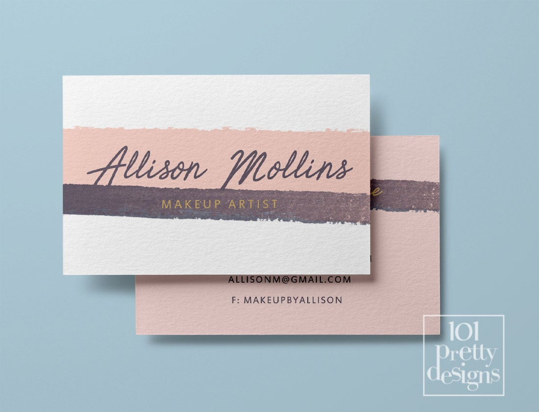 Watercolor Business Card Stripes Pink Printable Business Card - Custom business card template