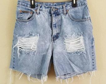 Calvin Klein Distressed Denim Shorts, Grunge Jean Shorts - size 8 #399