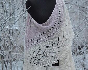 ON SALE cashemir shawl, wedding shawl, silky shawl, white handknit shawl