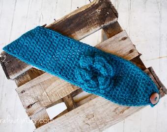 Wide Crochet Boho Headband with Large Flower - Ocean Blue