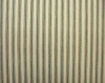 Charcoal Grey & Cream COTTON CANVAS French Ticking Fabric Extra Wide Width 214cm
