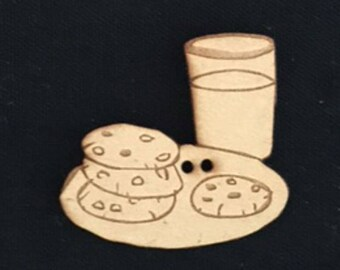 Cookies & Milk Button embellishment, custom made laser cut Pack of 2