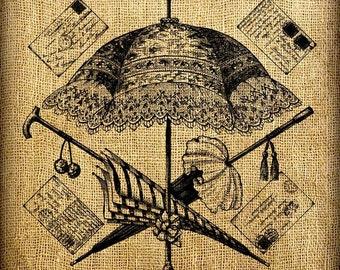 Umbrella Parasol Postcards Vintage Digital Image Transfer Download 300 dpi for Pillows Totes Bags Napkins Towels