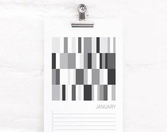 Monochrome Perpetual Calendar, Birthday and Anniversary Calendar, Abstract Art, Mini Art Prints, Black and White Decor