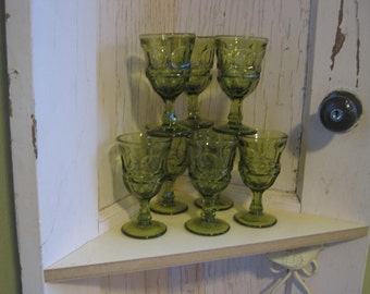 Set of 4~ Fostoria Argus Green Goblets, (2 sets of 4 available)~ Garden Girl Vintage