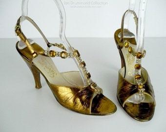 Vintage 50s Womens Gold Metallic Leather High Heel Shoes, Rhinestone T Strap, Sling Back High Heels, Henri Flatow Shoes, Peep Toe Sandals
