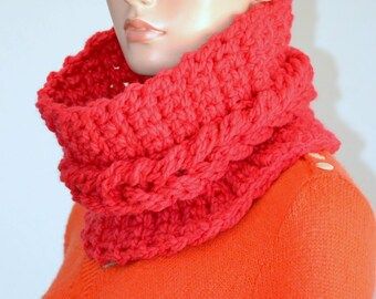 Red Faux Cable Cowl/ Crochet Red Cowl/ Crochet Cable Cowl/ Cable Neck Warmer/ Crochet Neck Warmer/ Winter Cowl/ Winter Cowl Scarf/ Scarf