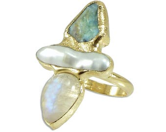 Moonstone Ring, June Birthstone, Hand Made Moonstone Ring, Unique Raw Gemstone Ring, Raw Larimar, pearl, Moonstone, Raw Crystal Ring, Gift .