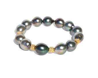 14k Tahitian Pearl Station Diamond Bracelet
