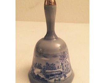 "Vintage Currier and Ives ""Homestead in Winter"" Blue Porcelain Bell"