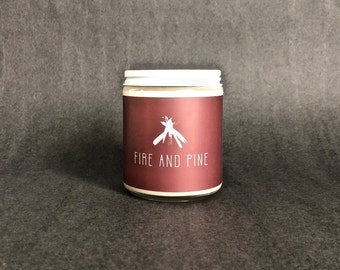 Fire and Pine Candle - Scented Soy Wax - Firewood, Balsam Fir, Fresh Water, Cedar