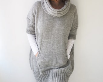 Plus Size Light Gray Hand Knitted Sweater Dress with Accordion Hood and Pocket Over Size Tunic by Afra