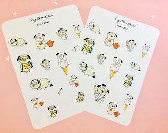 Pug sticker sheet, pug stickers, pug planner stickers, dog sticker sheet, journal stickers, dog planner stickers, calendar stickers