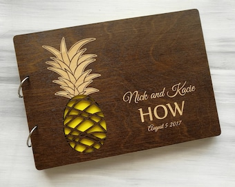Pineapple Wedding Guest Book Hawaii Wedding Guestbook Tropical Wedding Guest Book Beach Wedding Guest Book Personalized Wedding Guest Book