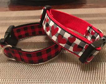 Buffalo Plaid Dog Collars / Valentines Day Dog Collars