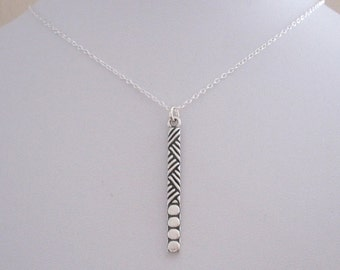 Ornate sterling silver STICK BAR pendant charm with chain, modern geometric necklace