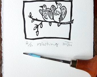Roosting, birds original lino print