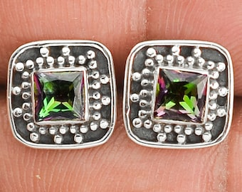 Vintage Stud Earrings with Mystic Topaz and sterling silver 925 stud earrings. Mystic topaz sterling silver studs.