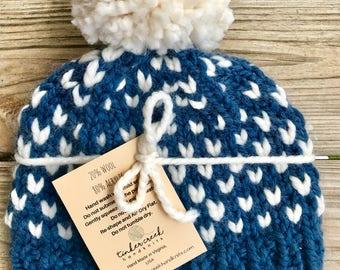 Chunky Pom Pom Hat, Knit Pom Hat, Blue Pom Hat, Blue Hat, Winter Hat, Big Pom Pom, Womens Chunky Beanie, Chunky Beanie Womens, Fair Isle