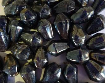 Glass gunmetal grey bicone/diamond beads 50 pack