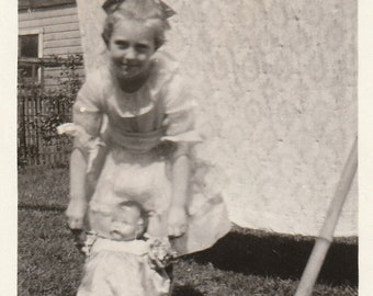 Original Vintage Photograph Girl With Her Doll 1920s