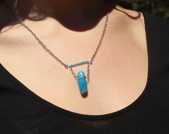 Ocean Blue / Stone Necklace / Chain Necklace / Boho Necklace / Short Necklace