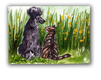 Black Poodle Tabby Cat Baby Nursery llmartin Original ACEO New Mom  Watercolor 2 New Mom Free Shipping USA