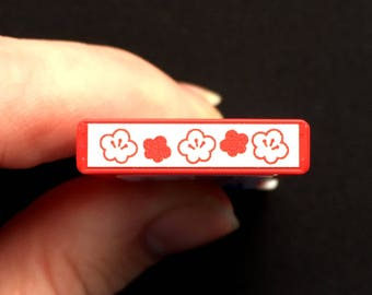 Plum Blossom Rubber Stamp RED  Self Inking Pre Inked