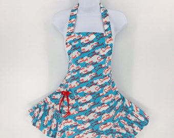The Simipsons Womens Ruffled Retro Apron Kitchen Apron Flirty Kitschy Cute Hostess Aprons for Women enchiladamama