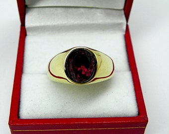 AAAA Purple Red Rhodolite Garnet   10x8mm  4.02 Carats   in  Heavy 14K Yellow gold MAN'S ring 18 grams. 2558