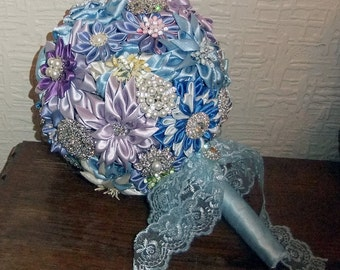 Kanzashi Flower and Brooch Bridal Wedding Bouquet-Blues and Purples