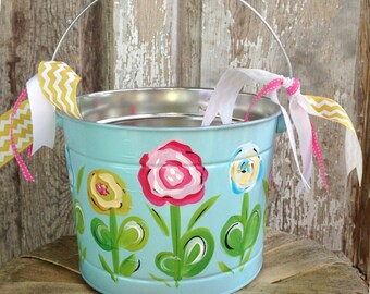 Easter Bucket, Personalized Bucket, Hand-Painted, Tin, Pail, Easter Pail, Girl Easter Basket, Personalized Easter Bucket