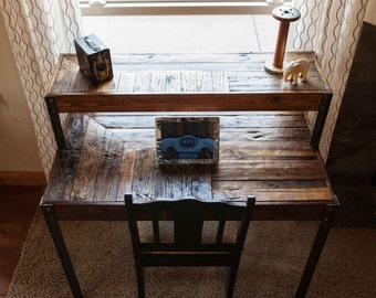 Pallet Wood Tiered Desk with Drawer