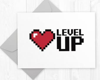 Level UP -  geeky gamer birthday printable card for boyfriend - geeky anniversary greeting card - nerdy promotion card for coworker
